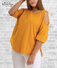 Knit Cold Shoulder Tee - Honey