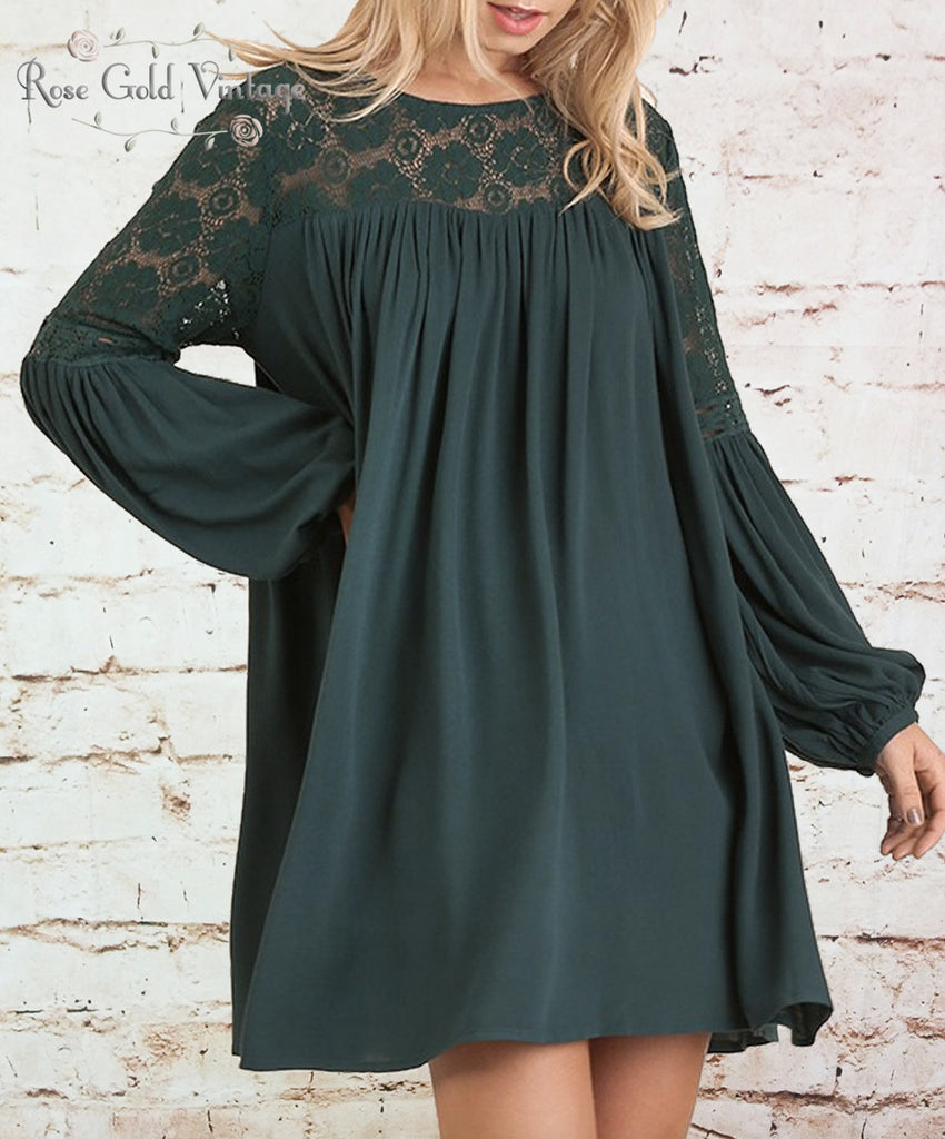 Lace Sleeve A-Line Dress - Hunter Green