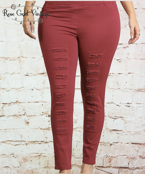Distressed Moto Leggings - Wine