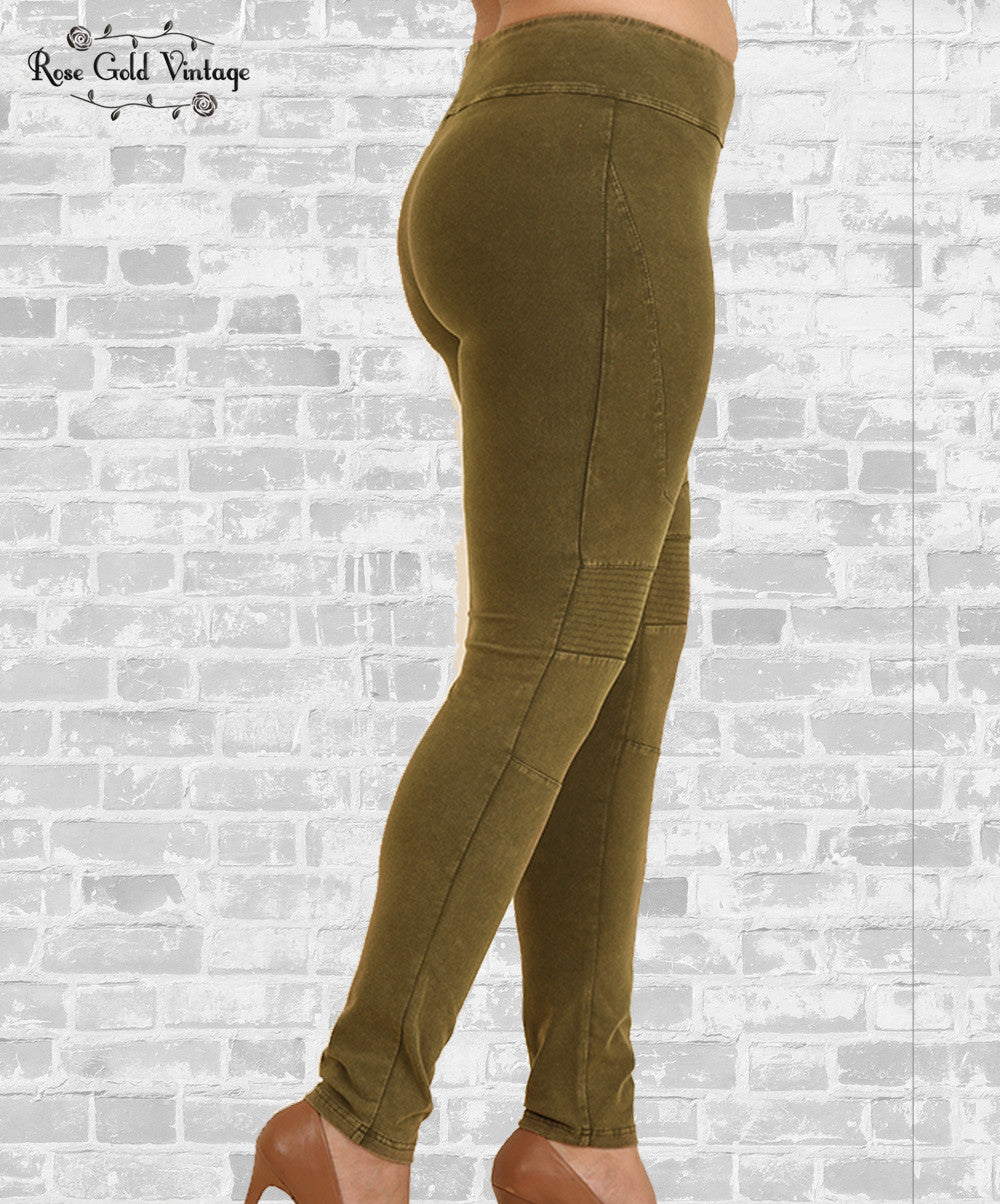 moto leggings olive. knit moto leggings - olive t