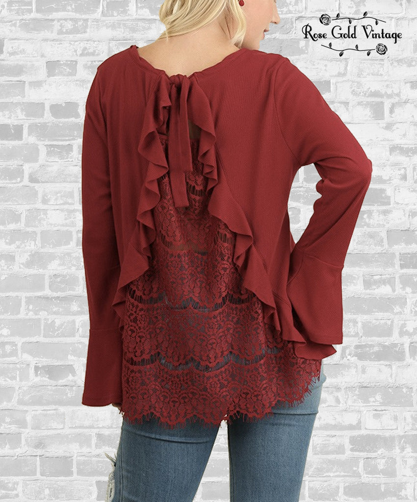 Lace Back Bell Sleeve Top - Burgundy