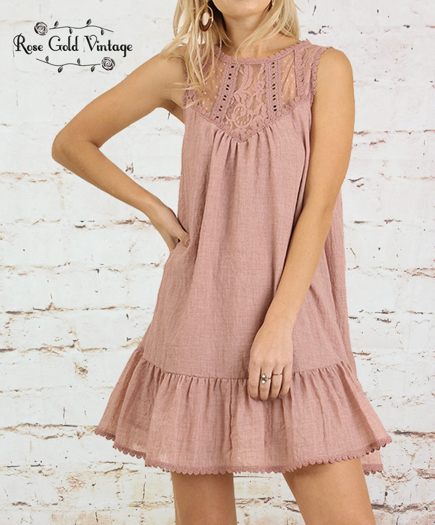 Sleeveless Lace Dress - Blush