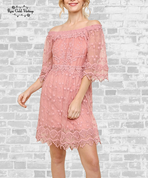 Off Shoulder Lace Dress - Dusty Pink