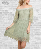 Off Shoulder Lace Dress - Sage