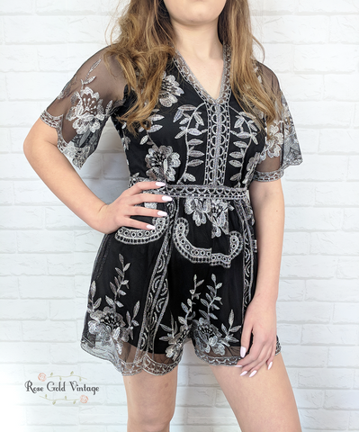 Floral Embroidered Lace Romper - Black & Silver