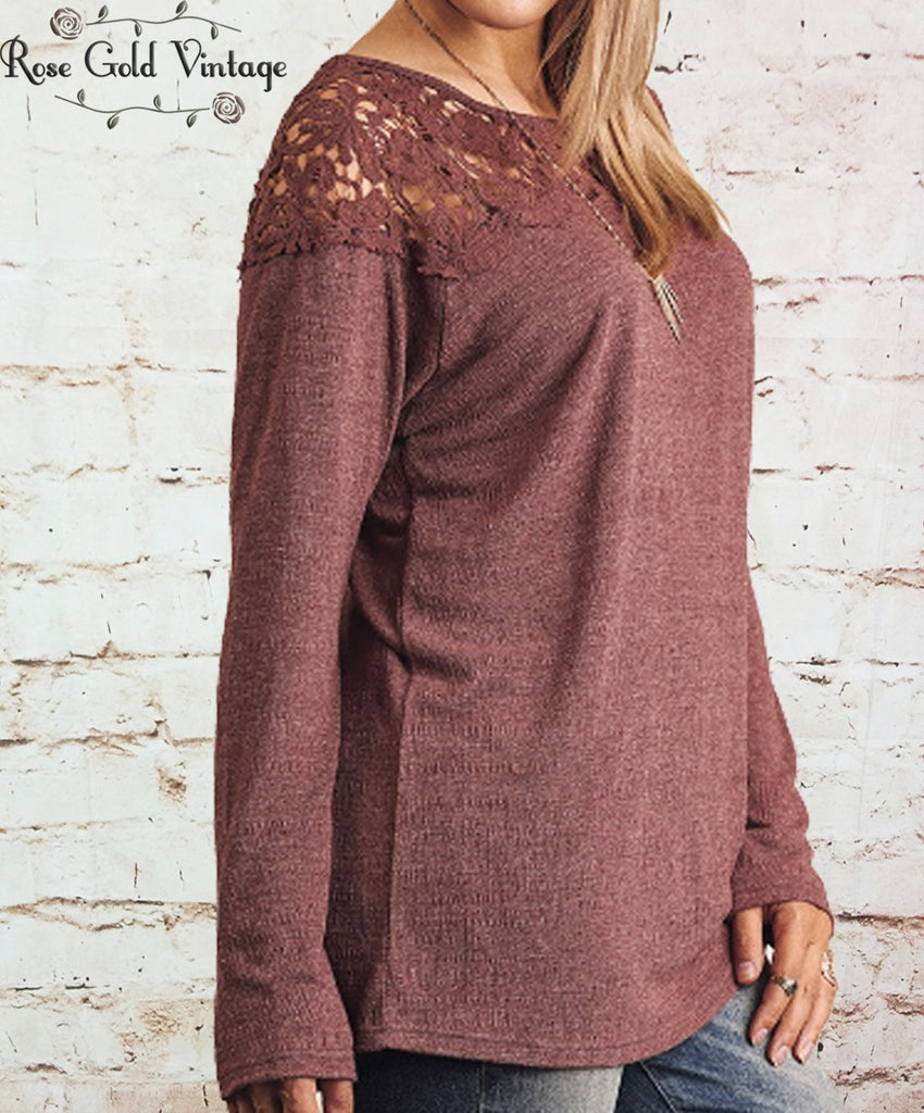 Lace Shoulder Tunic - Burgundy