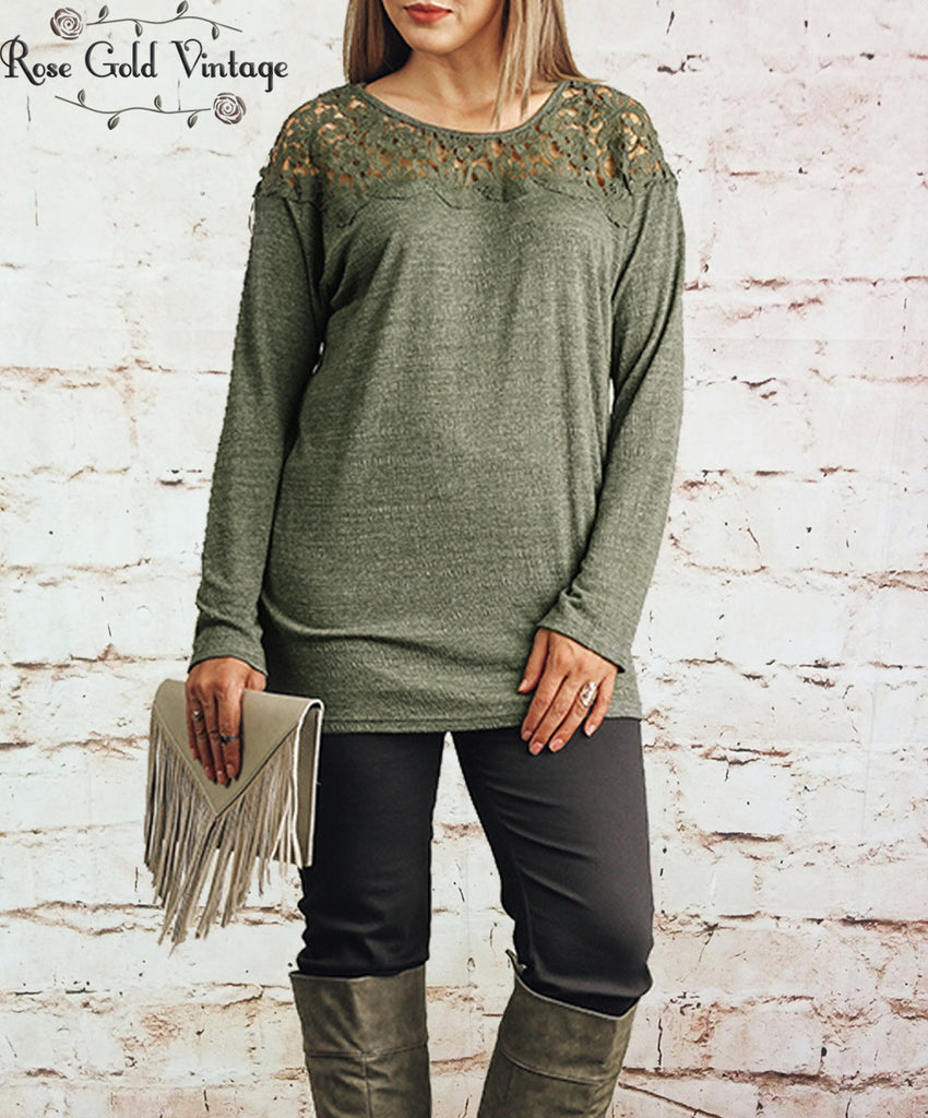 Lace Shoulder Tunic - Olive