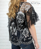 Embroidered Lace Top - Black & Silver