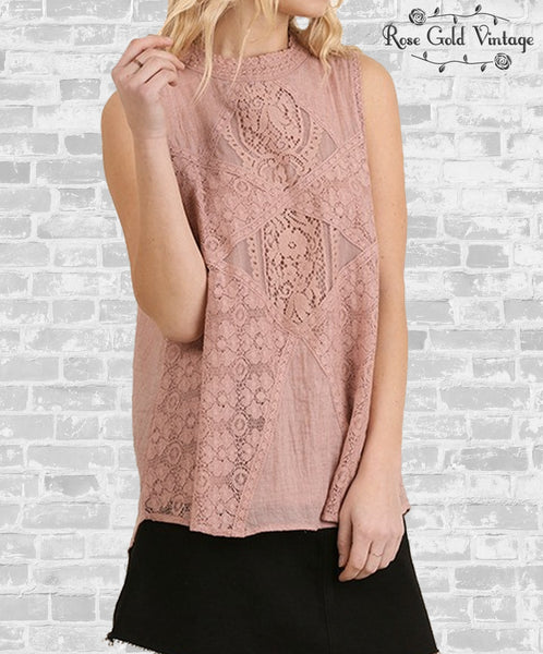 Blush Sleeveless Lace Top