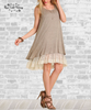 Lace Trim Tank Dress - Mocha