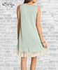 Lace Trim Tank Dress - Sage