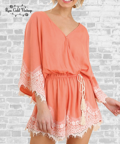 Lace Trim Romper - Salmon
