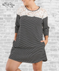 Lace Striped Tee Dress - Black