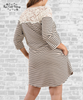 Lace Striped Tee Dress - Taupe