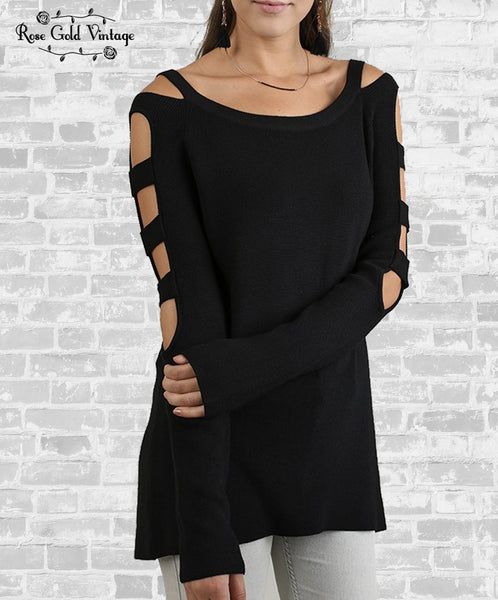 Ladder Sleeve Sweater - Black