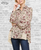 Floral Lace Hem Button Down Shirt - Latte
