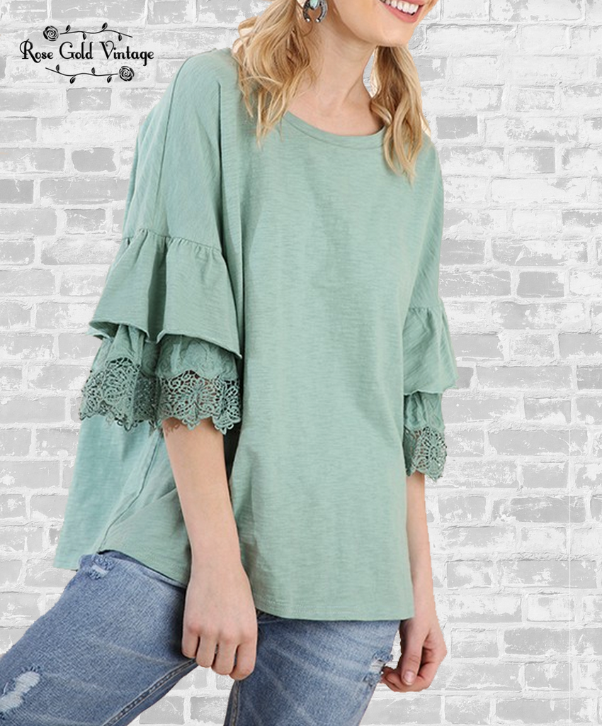 Crochet Layered Sleeve Top - Dusty Mint