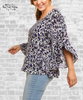 Ruffle Sleeve Leopard Top - Purple