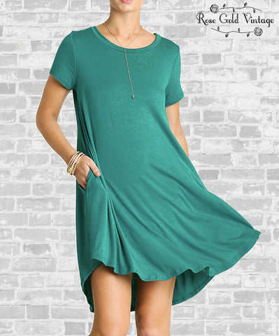 Perfect Pocket A Line Tee Dress - Teal