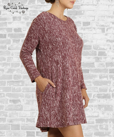 Marled Knit Sweater Dress - Burgundy