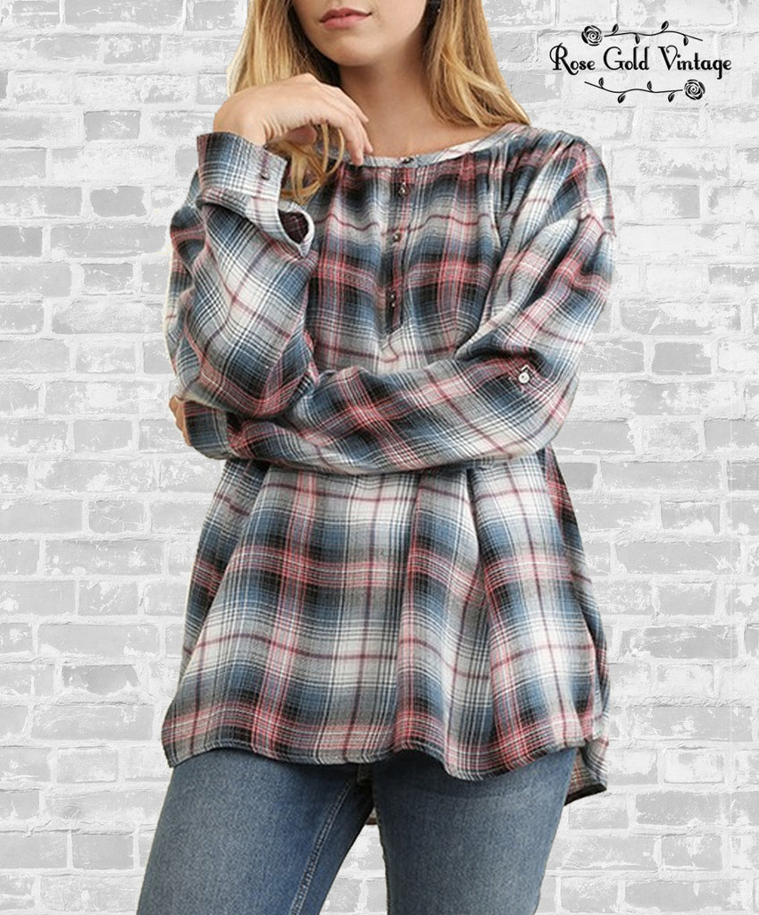 Plaid Popover Button Up Top - Coral & Blue