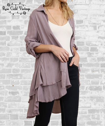 Mauve Button Up Two Tier Ruffle Top