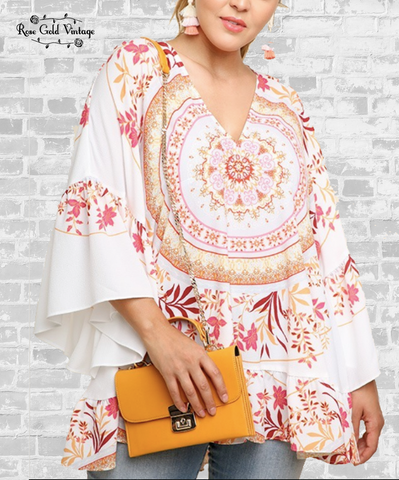 Medallion Boho Bell Sleeve Tunic - Off White
