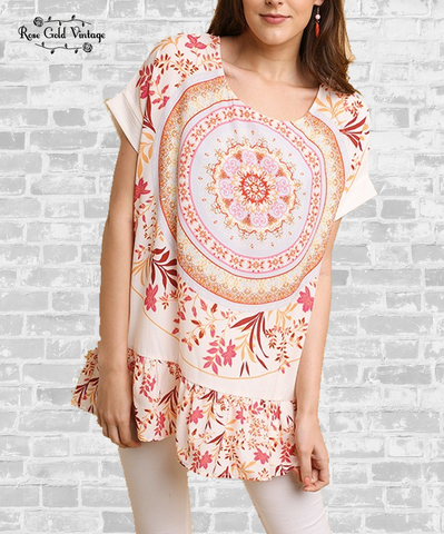 Medallion Boho Short Sleeve Tunic - Natural