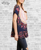 Medallion Boho Short Sleeve Tunic - Navy
