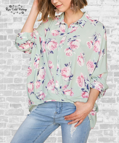 Floral Twist Button Up Shirt - Mint