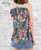 Lace & Ruffle Keyhole Top - Sage Floral
