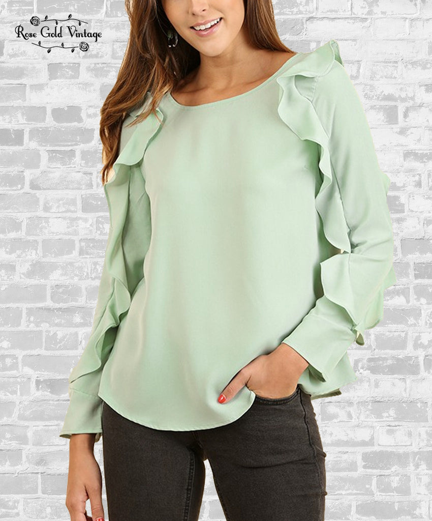 Ruffle Sleeve Blouse - Light MInt