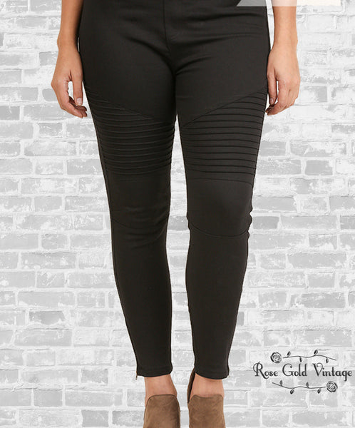 Plus Denim Moto Jeggings - Black (Ladies)