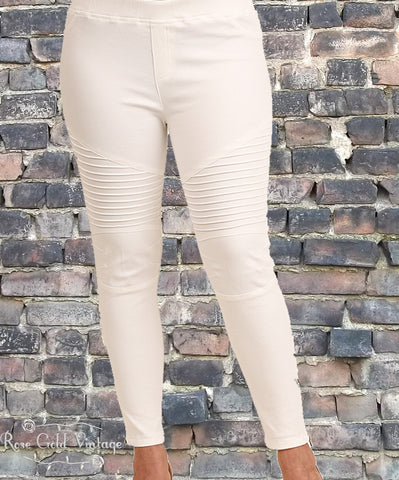 Plus Denim Moto Jeggings - Off White (Ladies)