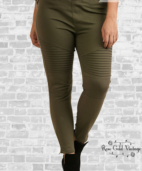 Denim Twill Moto Jeggings - Olive