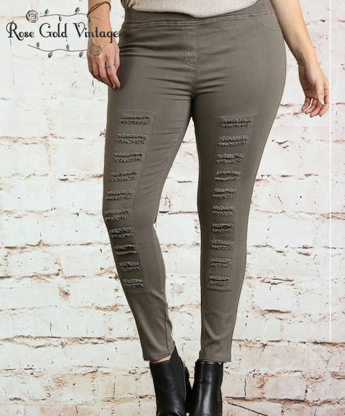 Distressed Moto Leggings - Olive