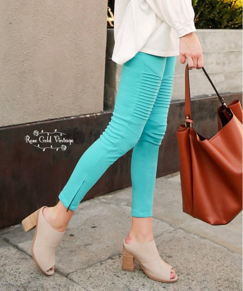 Denim Twill Moto Jeggings - Seafoam
