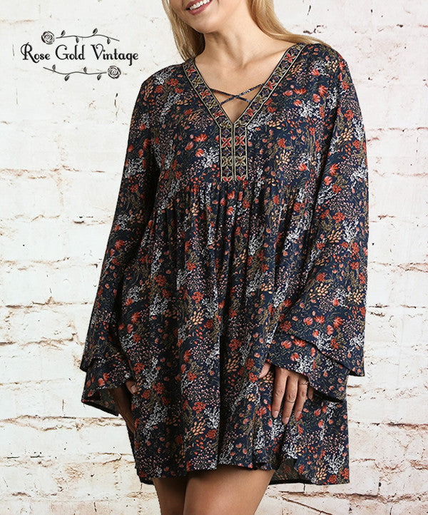 Floral Navy Bell Sleeve Dress