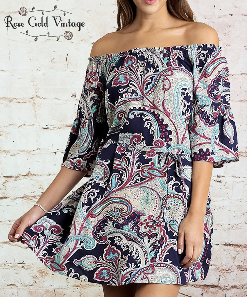 Off Shoulder Boho Dress - Navy Blue