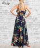 Tropical Floral Maxi Dress - Navy Blue
