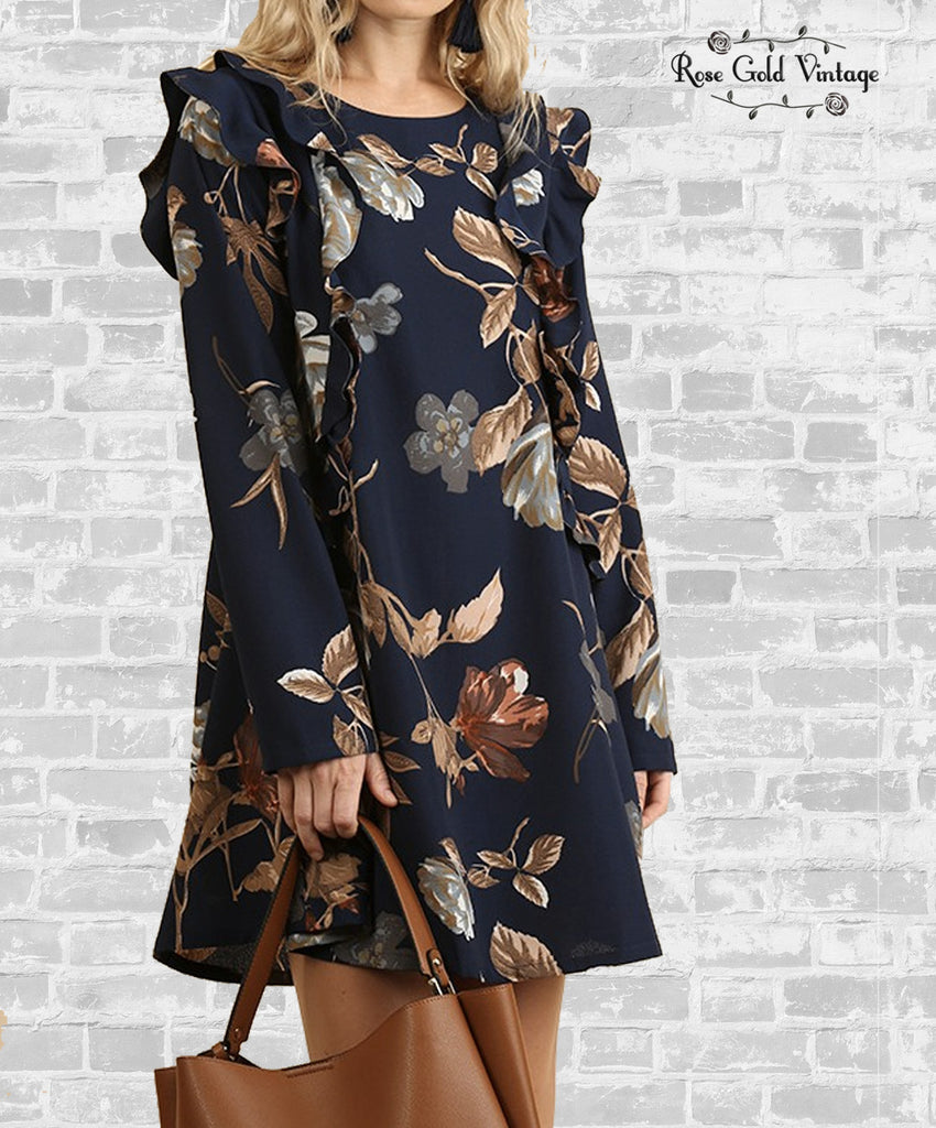 Fall Floral Long Sleeve Dress - Navy