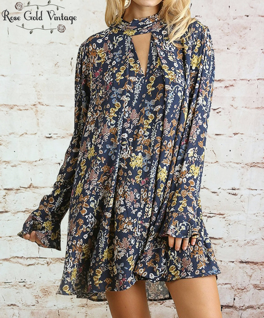 Long Sleeve Floral Swing Dress - Navy