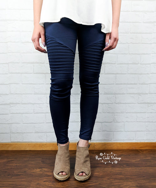 Denim Twill Moto Jeggings - Navy