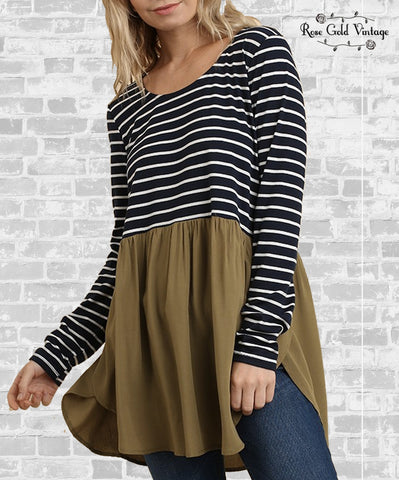 Striped Babydoll Tunic - Navy & Olive