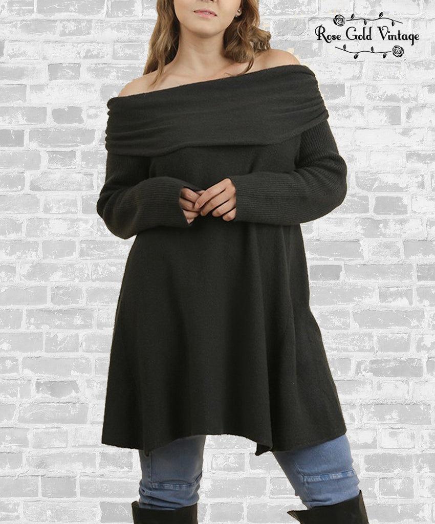 Off Shoulder Slouchy Sweater - Ash