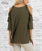 Cold Shoulder Ruffle Top - Olive