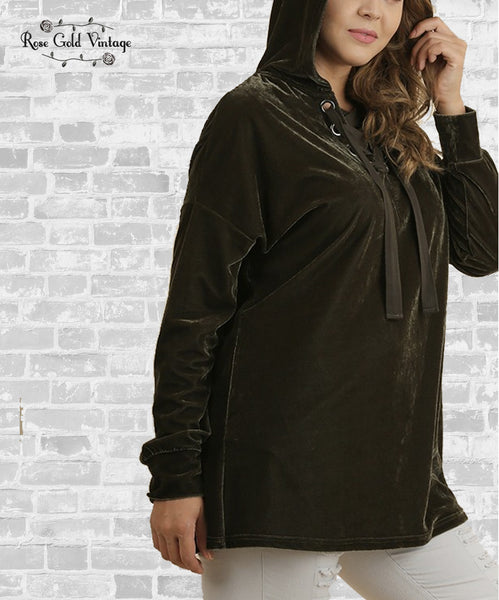 Lace-Up Velvet Hoodie Tunic - Olive