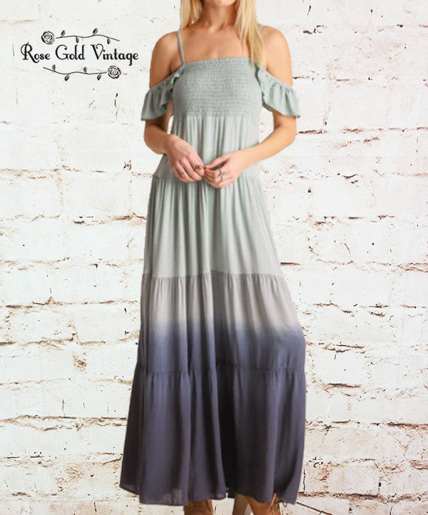 Smocked Ombre Maxi Dress