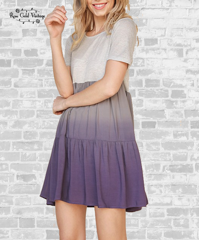 Ombre Babydoll Tunic Dress - Purple