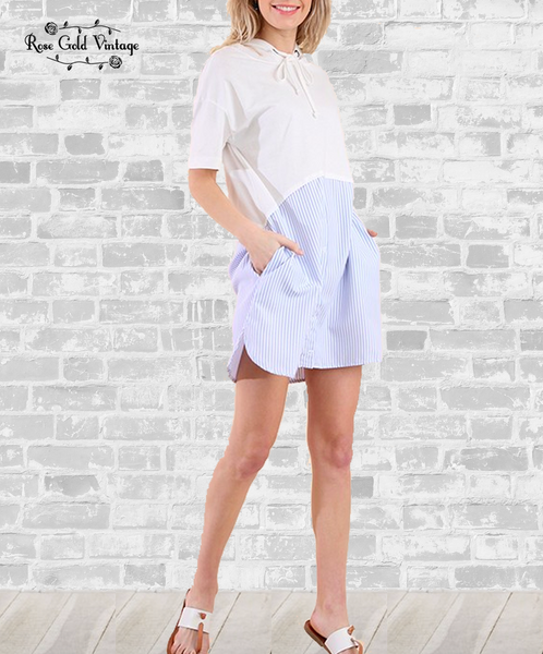 Oxford Hoodie Dress - White & Blue